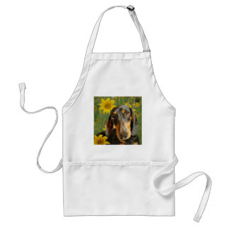 Cute Dachshund (Brown Short Haired) in Sunflowers Standard Apron