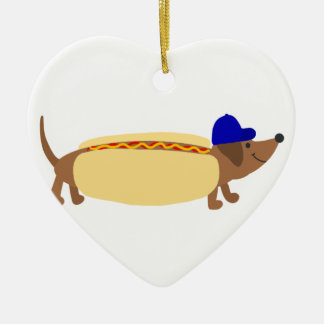 Cute Dachshund Dog in a Hotdog Bun Ceramic Ornament