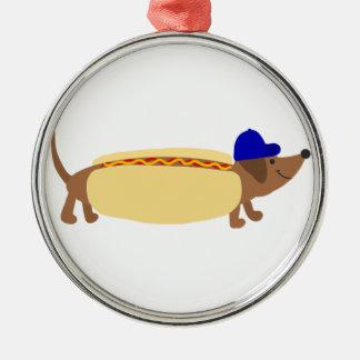 Cute Dachshund Dog in a Hotdog Bun Metal Ornament