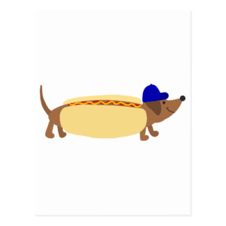 Cute Dachshund Dog in a Hotdog Bun Postcard