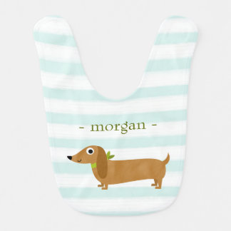 Cute Dachshund Dog with Mint Stripes Bib