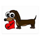Cute Dachshund Holding Be Mine Heart Postcards