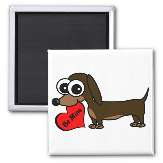 Cute Dachshund Holding Be Mine Heart Square Magnet