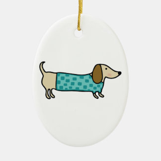 Cute dachshund in mint blue ceramic ornament