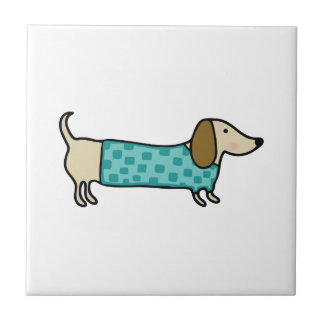 Cute dachshund in mint blue ceramic tile