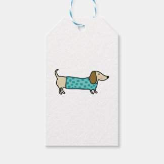 Cute dachshund in mint blue gift tags