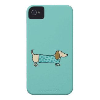 Cute dachshund in mint blue iPhone 4 cases