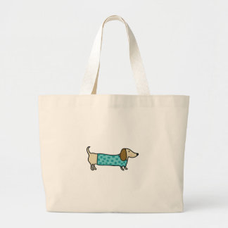 Cute dachshund in mint blue large tote bag
