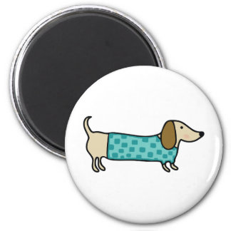 Cute dachshund in mint blue magnet