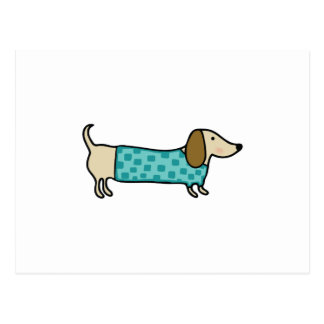 Cute dachshund in mint blue postcard