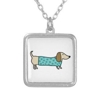 Cute dachshund in mint blue silver plated necklace