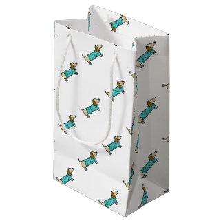 Cute dachshund in mint blue small gift bag