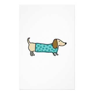 Cute dachshund in mint blue stationery