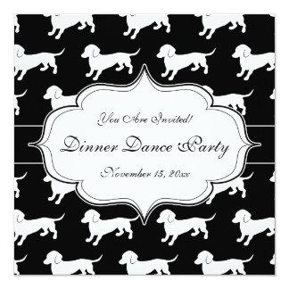 Cute Dachshund Pattern 13 Cm X 13 Cm Square Invitation Card
