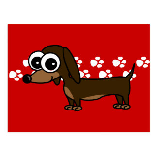 Cute Dachshund Pawprint Postcard