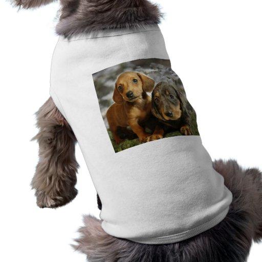Cute Dachshund Puppies (Brown/Black) Doggie T Shirt