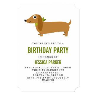 Cute Dachshund Puppy Dog Birthday Party 13 Cm X 18 Cm Invitation Card