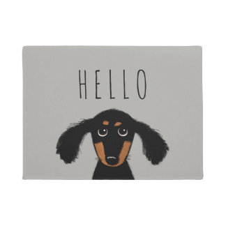 Cute Dachshund Puppy with Custom Text Doormat