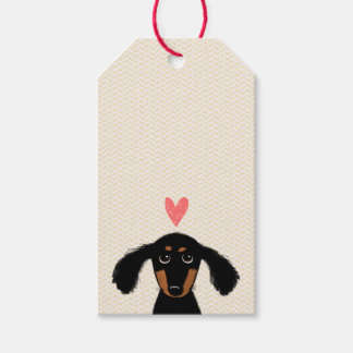 Cute Dachshund Puppy with Heart and Text Gift Tags