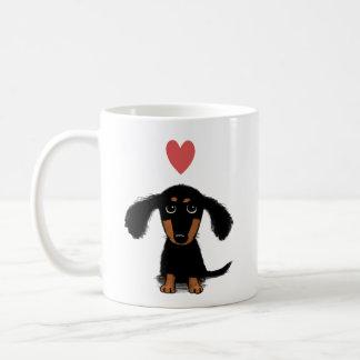 Cute Dachshund Puppy with Valentine Heart Basic White Mug