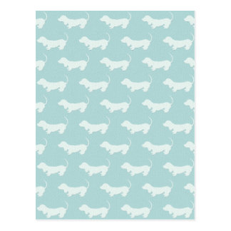 Cute Dachshund White Silhouettes on light blue Postcard