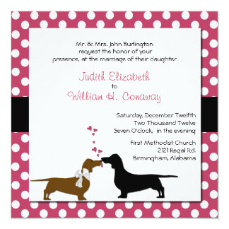 Cute Dachshunds Wedding Invitation