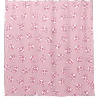 Cute Dainty Pink Skull Shower Curtain