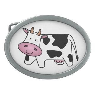 Cute Dairy Cow Oval Belt Buckle