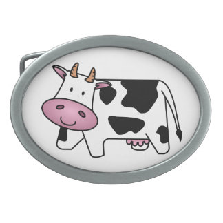 Cute Dairy Cow Oval Belt Buckles
