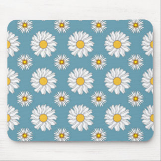 Cute Daisies and Flowers White and Blue Mouse Pad
