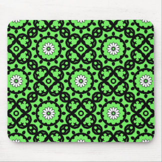 Cute daisies on green kaleidoscope mouse pad