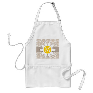Cute Daisy; Almond Color Damask Pattern Adult Apron