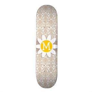 Cute Daisy Almond Color Damask Pattern Skateboard Deck