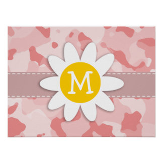 Cute Daisy; Baby Pink Camo; Camouflage Posters