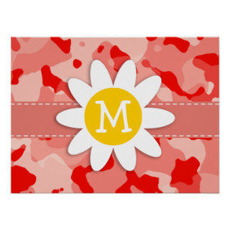 Cute Daisy; Coral Pink Camo; Camouflage Print