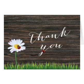 Cute Daisy & Ladybugs Wood Background Thank You Note Card