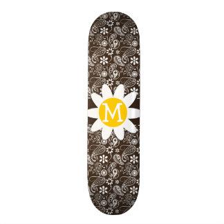 Cute Daisy on Bistre Brown Paisley Skateboard Decks