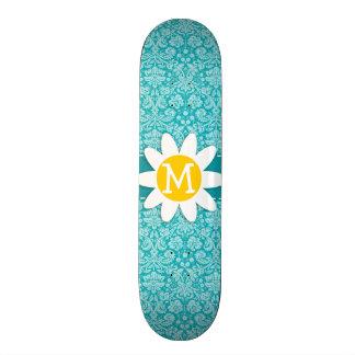 Cute Daisy on Blue-Green Damask Pattern Skateboard Deck