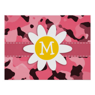 Cute Daisy on Brink Pink Camo; Camouflage Poster