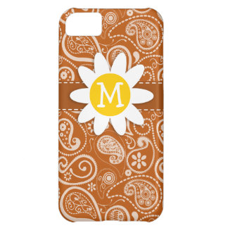 Cute Daisy on Burnt Orange Paisley; Floral Case For iPhone 5C
