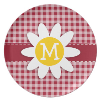 Cute Daisy on Carmine Red Gingham; Checkered Plate