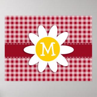 Cute Daisy on Carmine Red Gingham; Checkered Print
