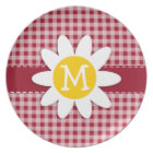 Cute Daisy on Carmine Red Gingham; Chequered Plate