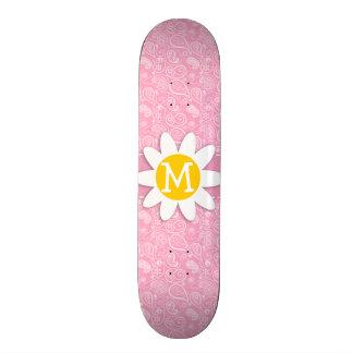 Cute Daisy on Carnation Pink Paisley Skate Board