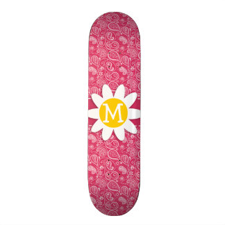 Cute Daisy on Cerise Paisley Floral Skate Boards
