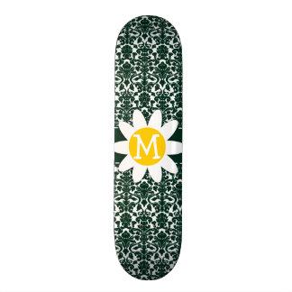 Cute Daisy on Dark Green Damask Pattern Skate Deck