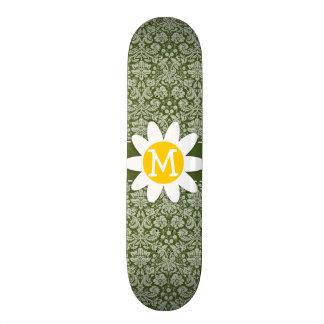 Cute Daisy on Dark Moss Green Damask Skateboards