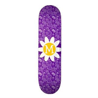 Cute Daisy on Dark Violet Paisley Skate Decks