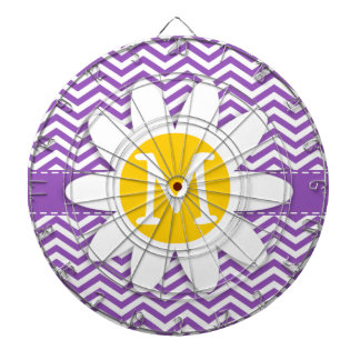 Cute Daisy on Deep Lilac Chevron Dartboard With Darts