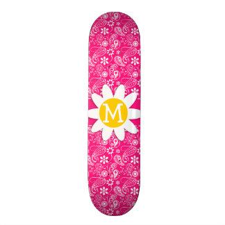 Cute Daisy on Deep Pink Paisley Skate Board Deck